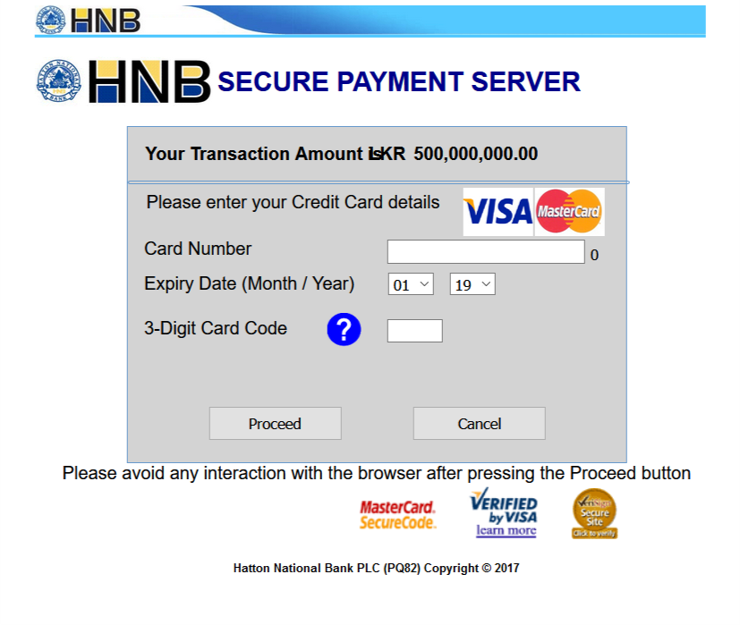 HNB payment gateway page