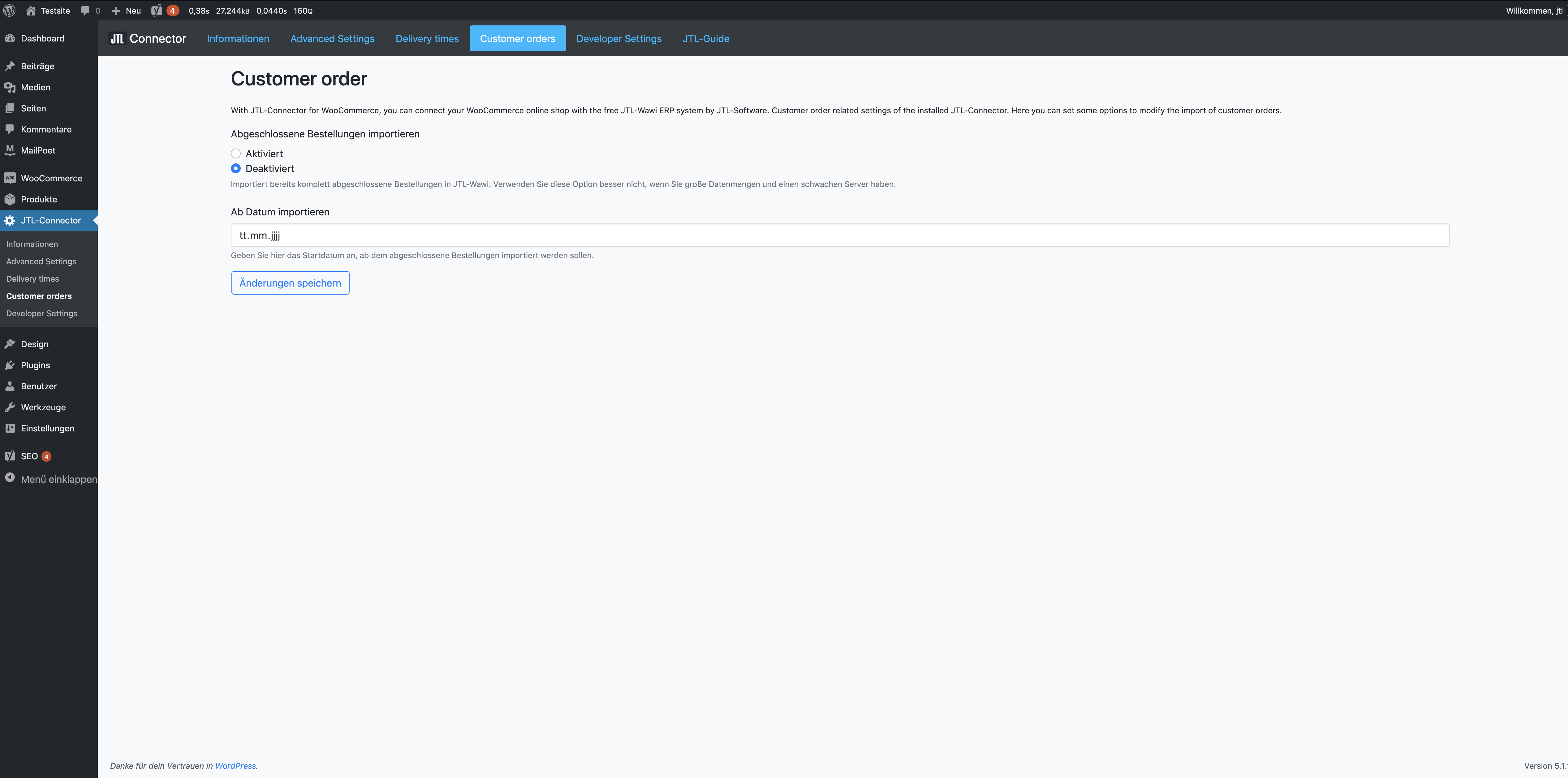 The WooCommerce JTL-Connector (>=1.8.0) customer orders settings page.