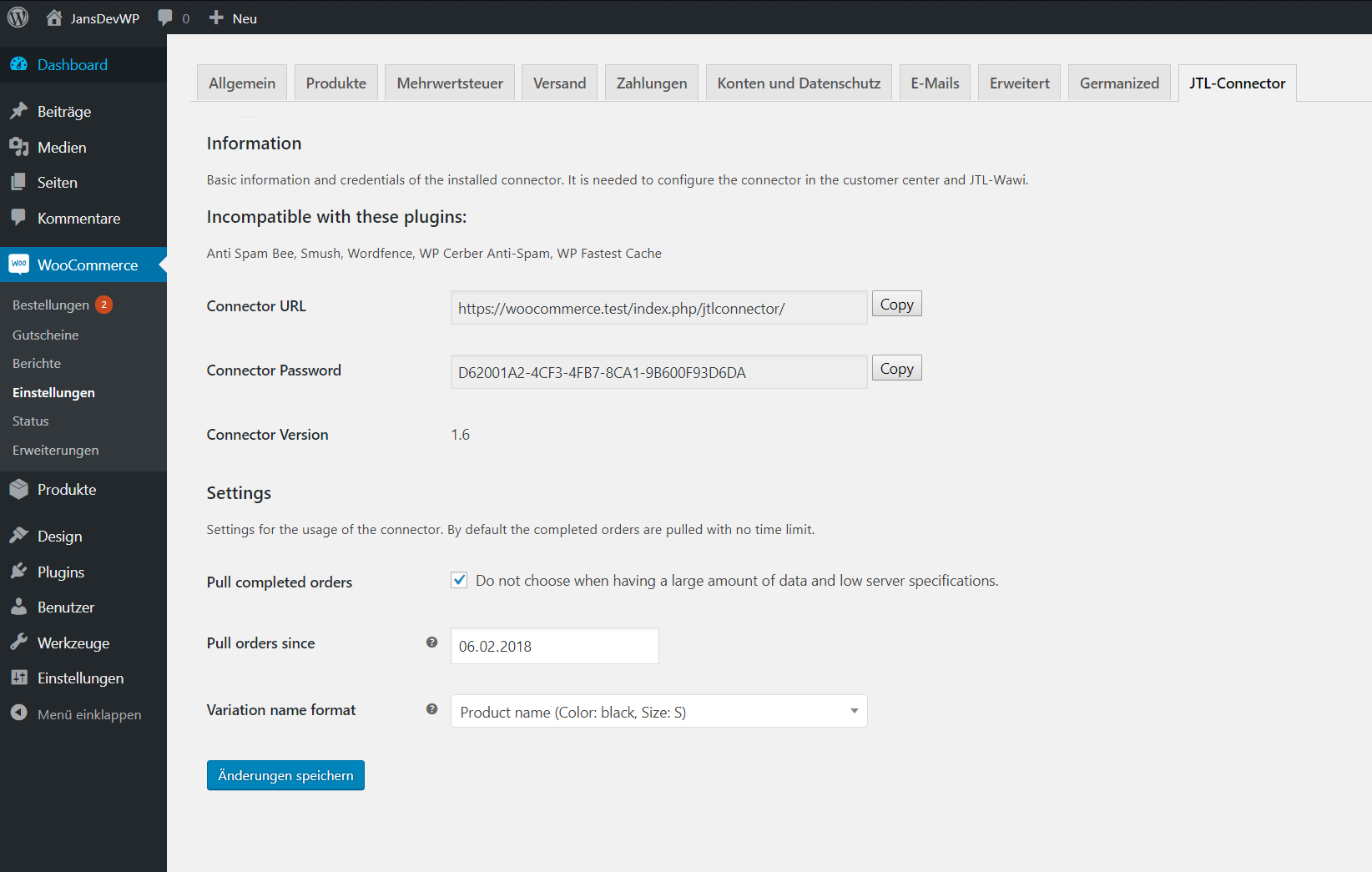 The WooCommerce JTL-Connector (>=1.7.0) settings panel.