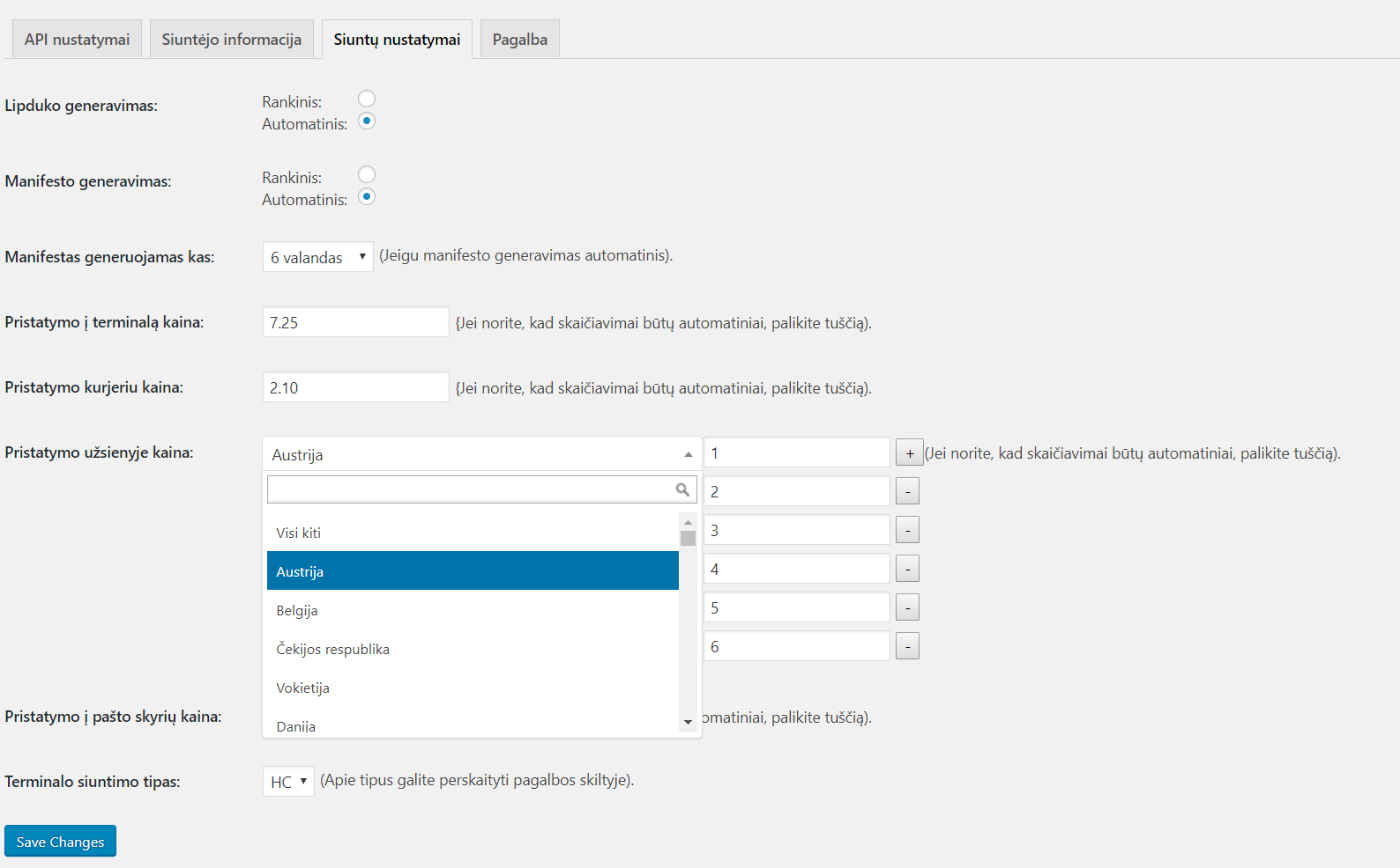 You can choose manual setup for price calculations and cronjobs, automatic label generation.