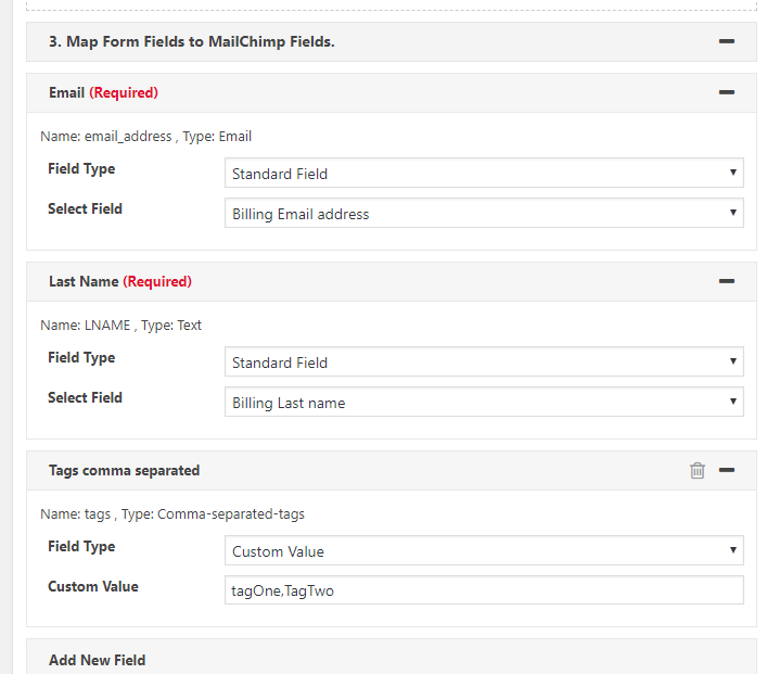 Map WooCommerce Order Fields to Mailchimp.