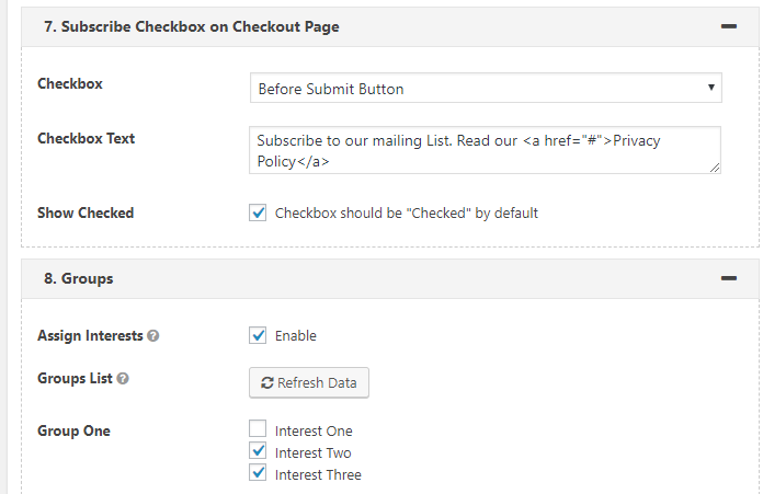 mailchimp optin checkbox on WooCommerce checkout page.