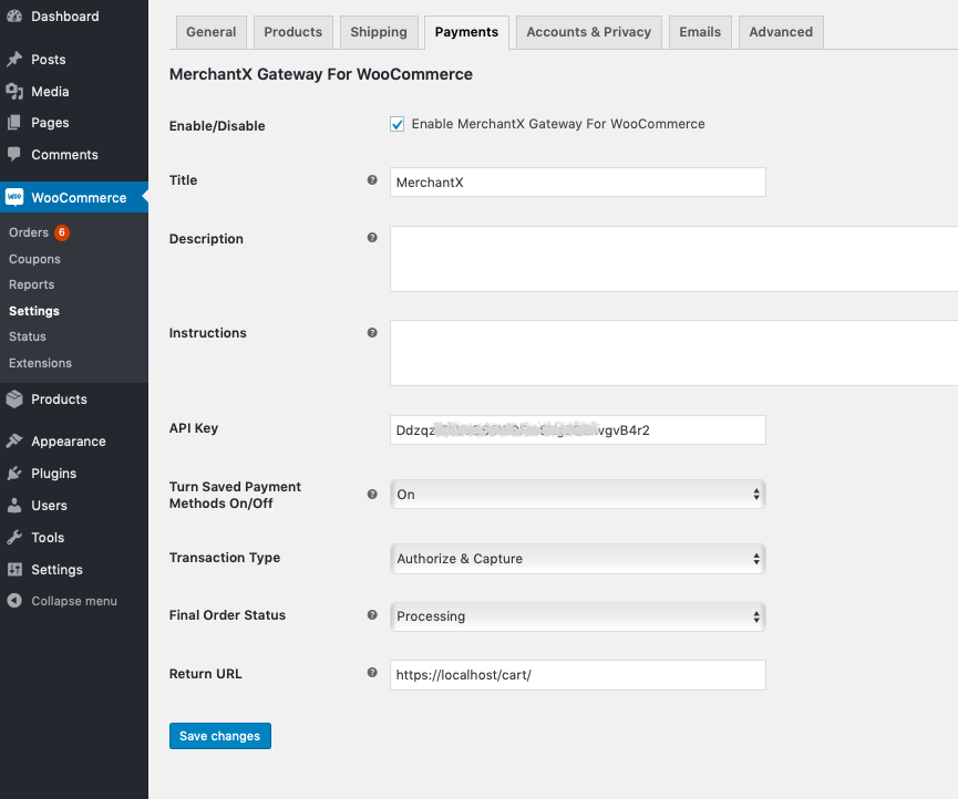 Showing the payment gateway set-up page.