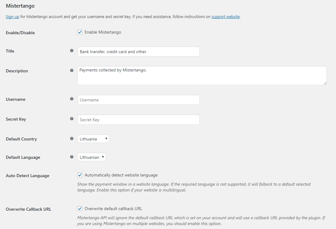 Mistertango payment gateway settings.