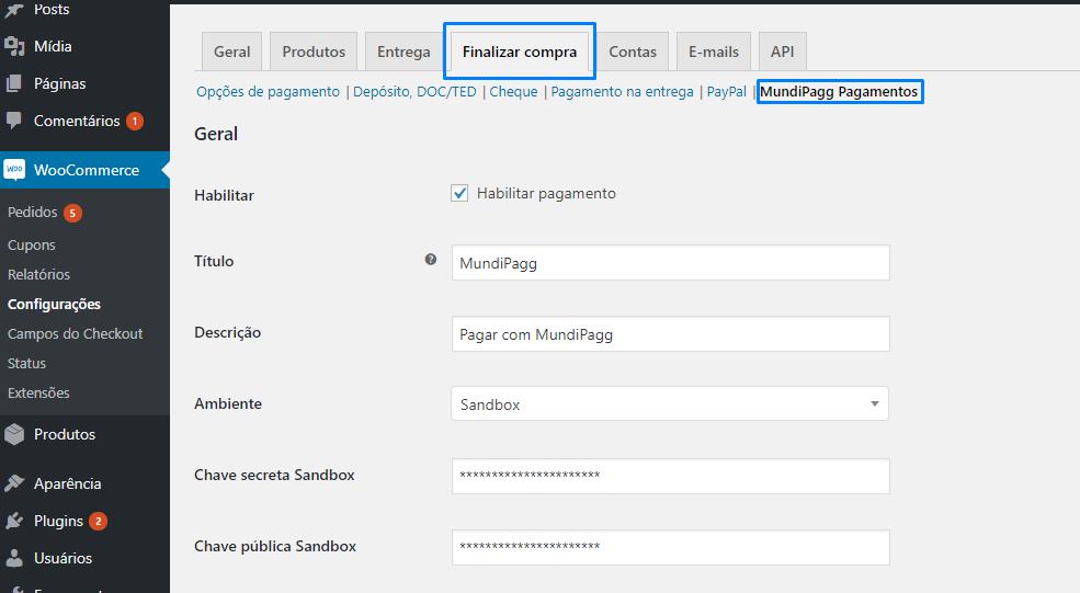 Após a instação, vá em WooCommerce > Configurações (Settings) > Finalizar compra (Checkout) para acessar as configurações