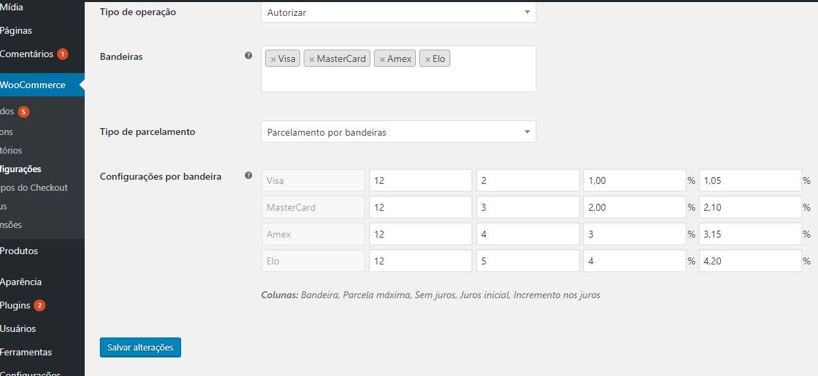 Configurando cartão de crédito (configurações completares a imagem anterior)