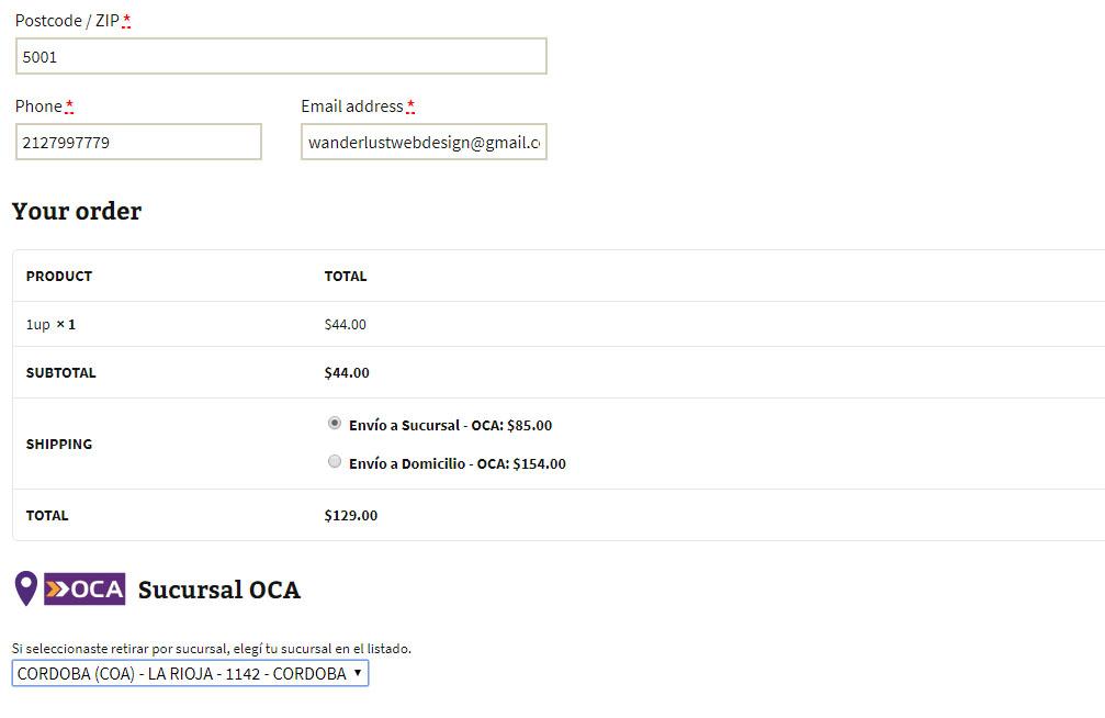 APP de OCA para WooCommerce