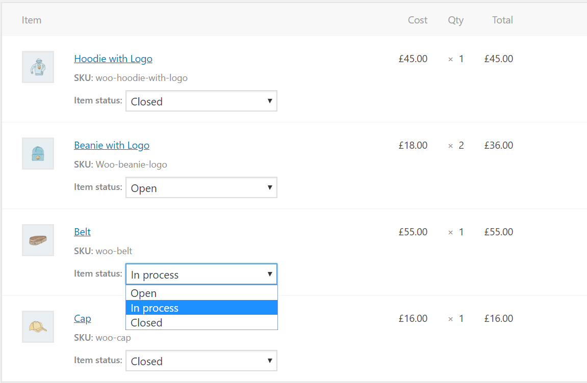 Admin can manage order status for each item from the backend.