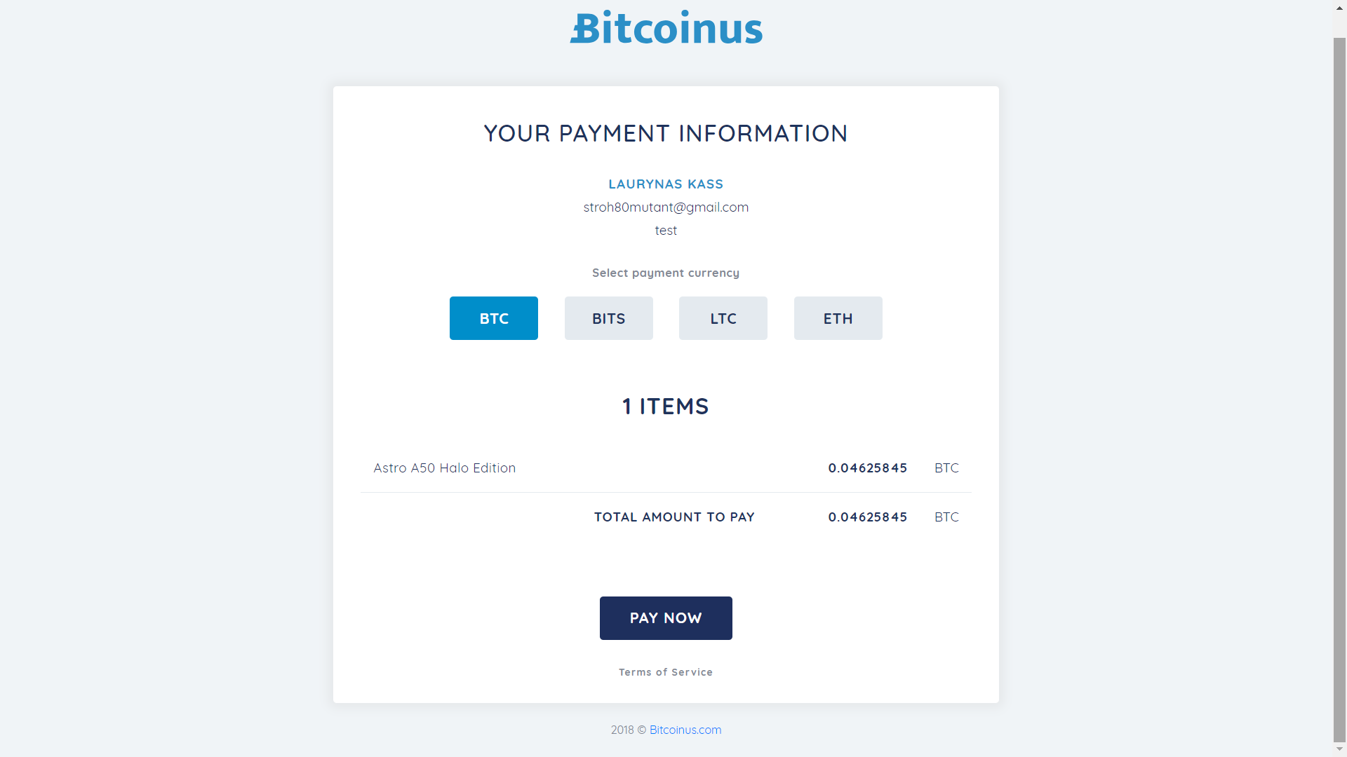 Bitcoinus checkout page 1.