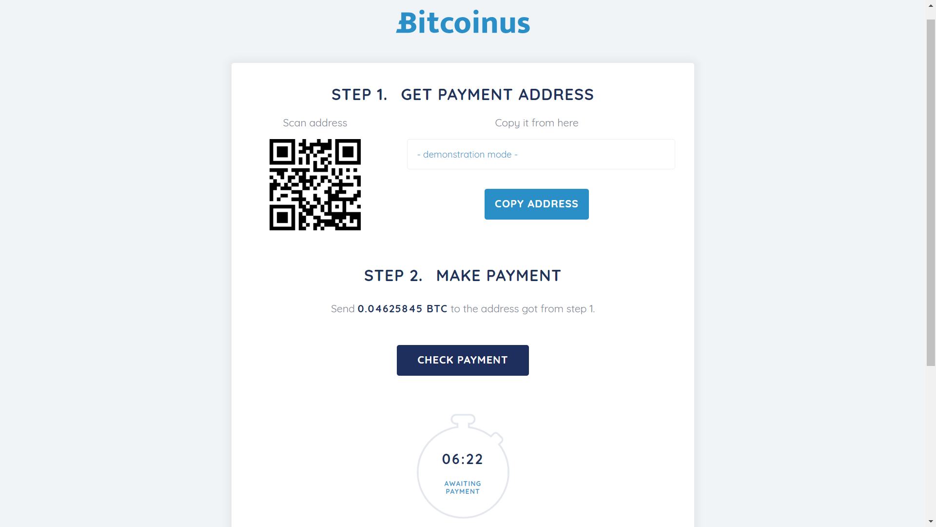 Bitcoinus checkout page 2.