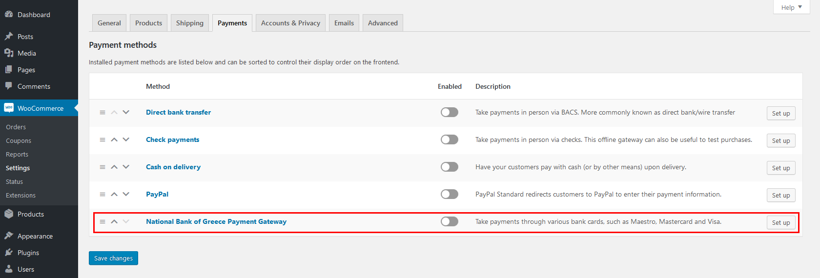 A view of the Payment Gateway added by the plugin in WooCommerce > Settings > Payments