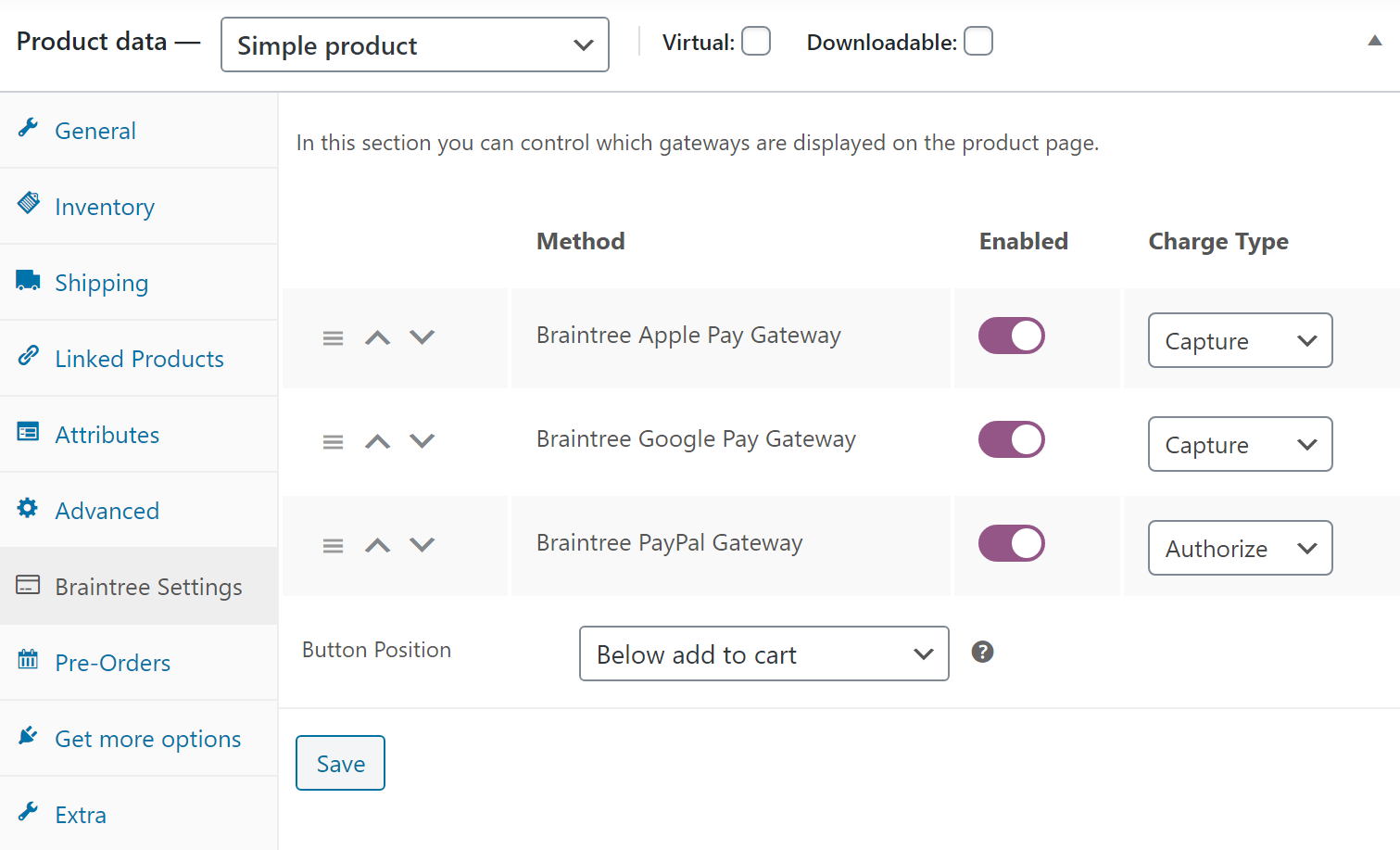 braintree for woocommerce plugins donation settings