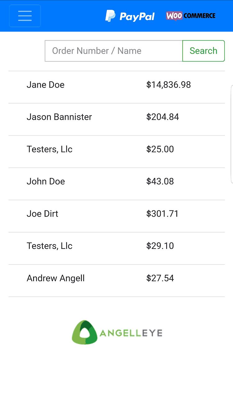 WooCommerce pending orders list displayed in the web app.