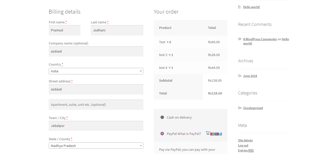 Woocommerce Paypal INR