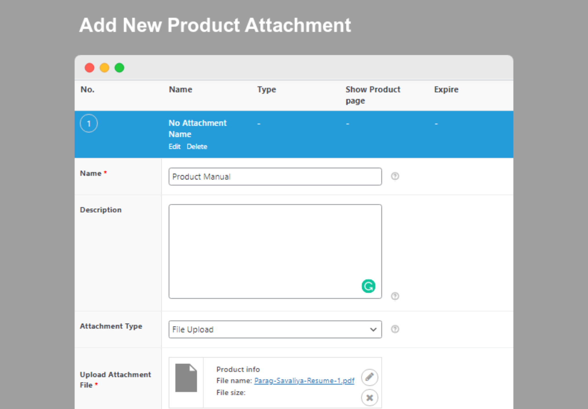 Product Attachment for WooCommerce