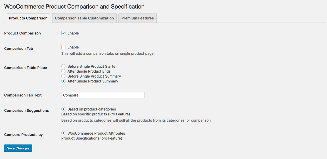 Product Comparison Settings.