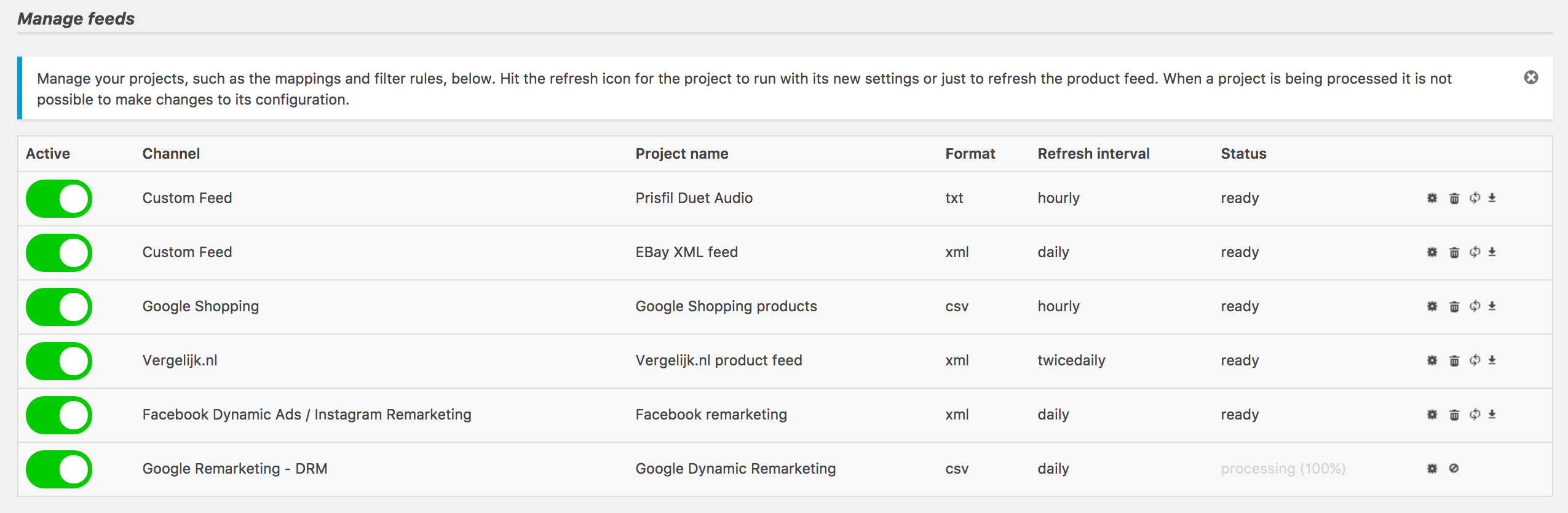 From within the manage feeds section you can control, (re)confige and activate or pause your product feed projects