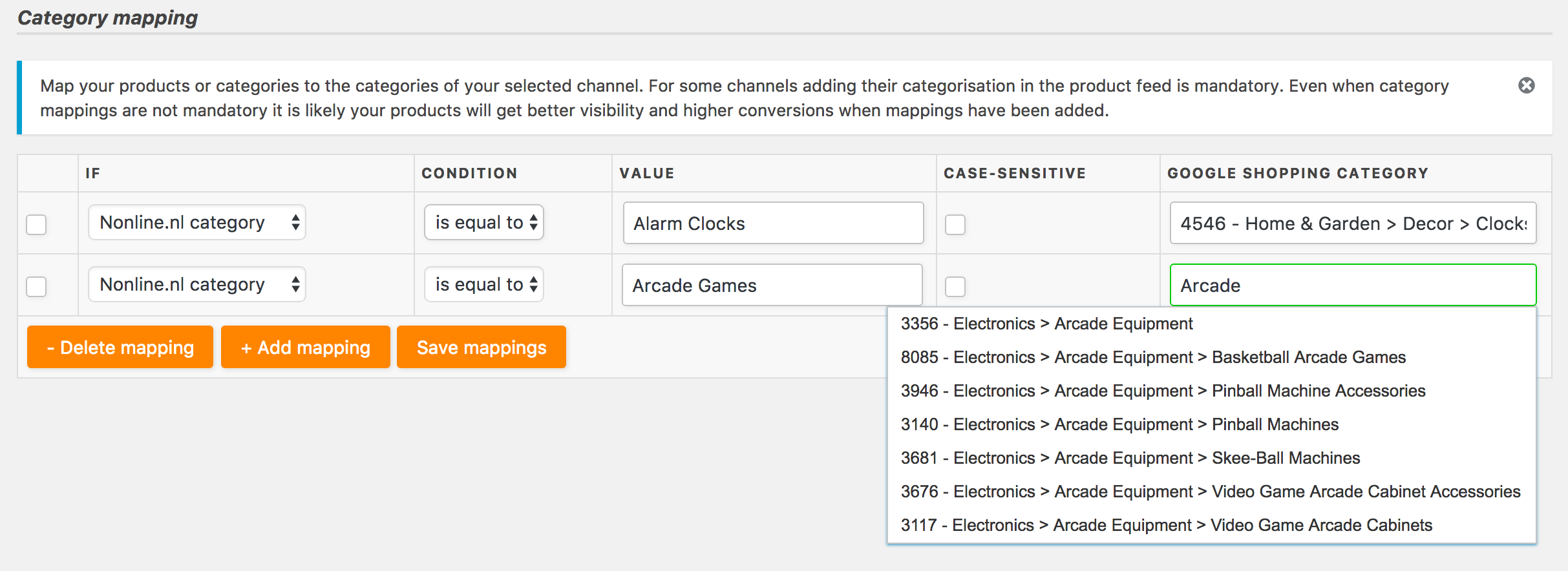 Map your product categories to those of the channels you are creating feeds for (for example Google shopping)