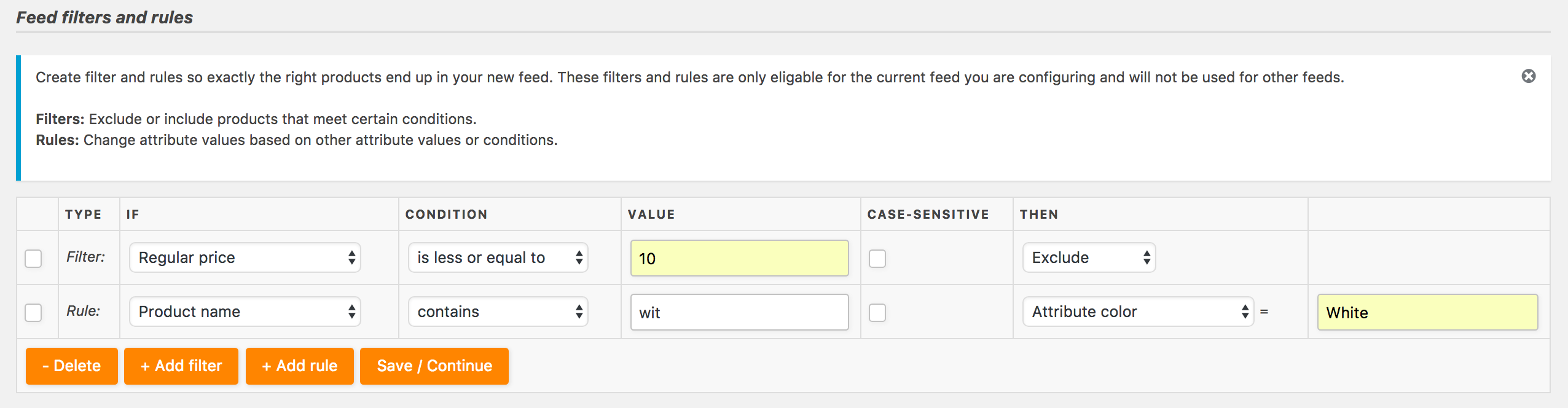 Set feed filter rules so only the profitable products end up in the product feed