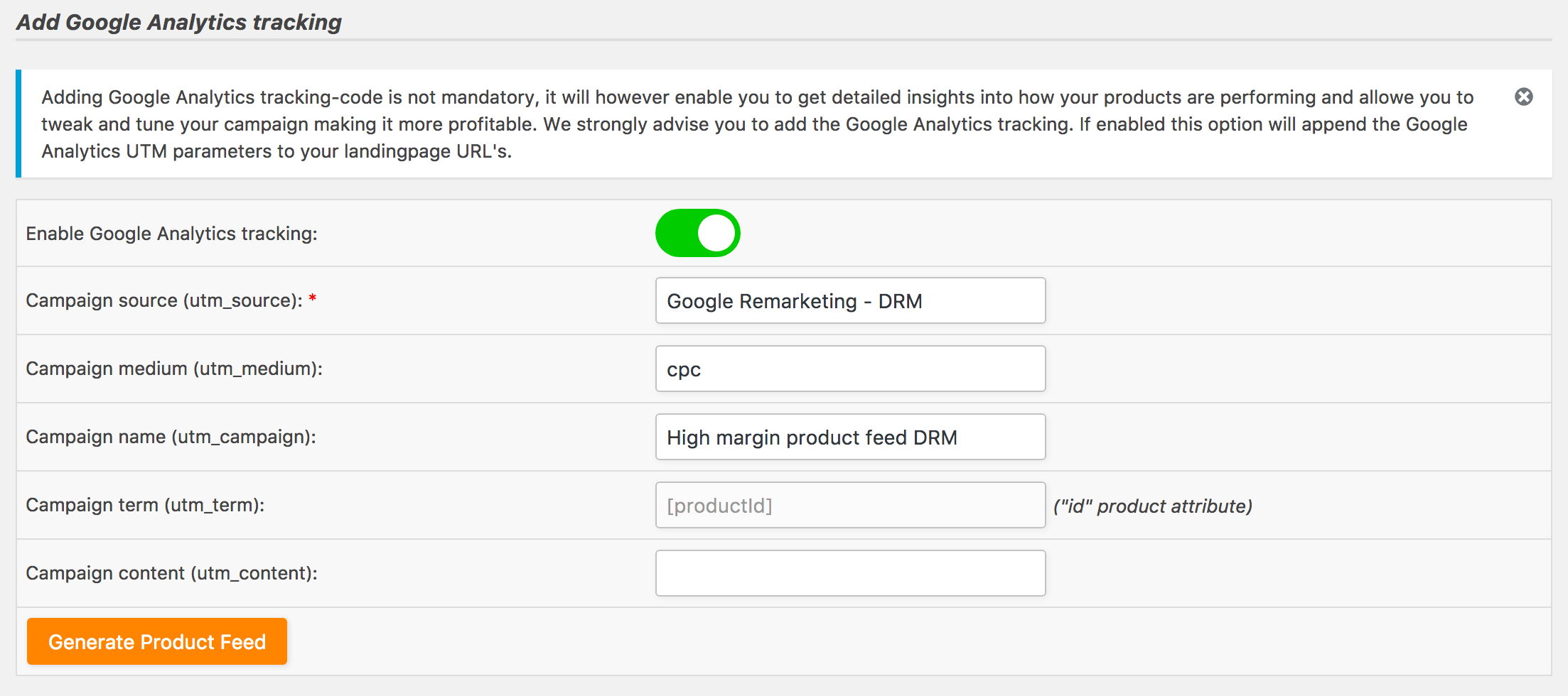 Add Google Analytics UTM parameters to the product landingpage URL's in your product feed
