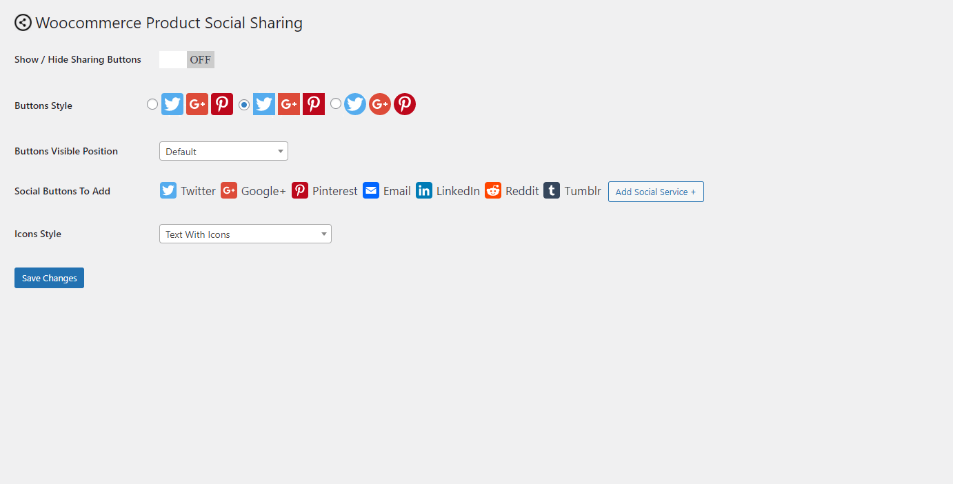 Settings panel for Woocommerce Product Page Social Share Plugin.