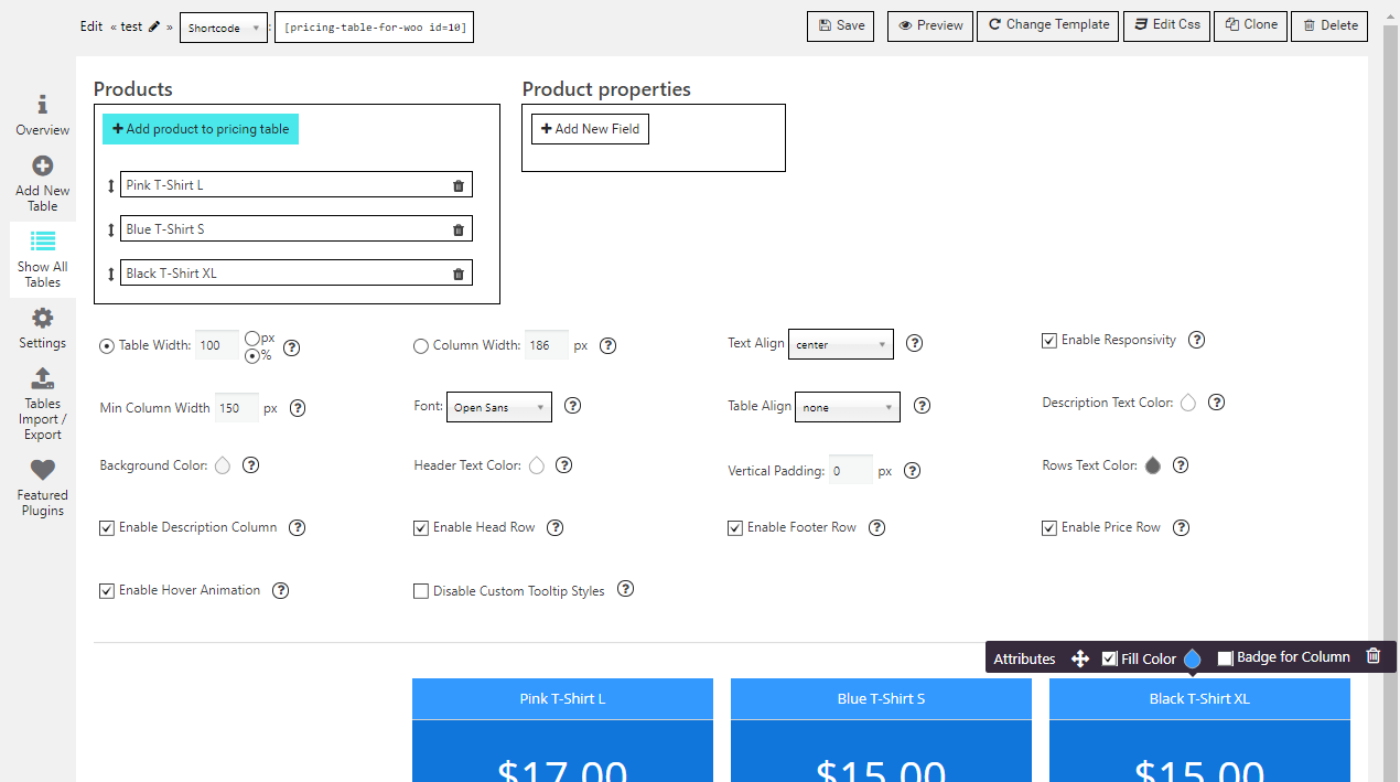 Product Pricing Table builder backend