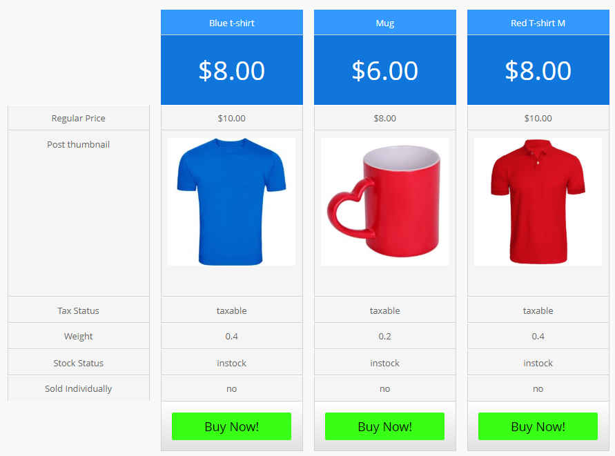 Rainbow Preset Product Pricing Table Example