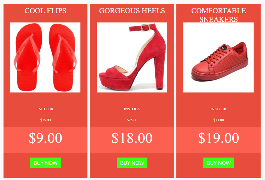 Flad Template Product Pricing Table Example