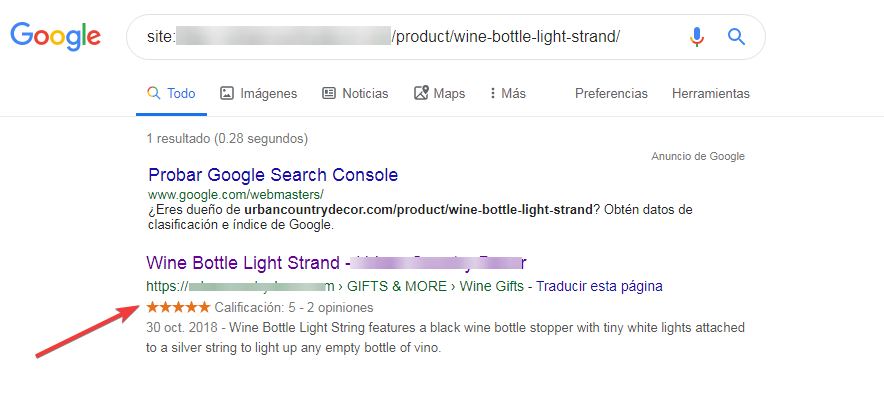 Example of the review stars on Google