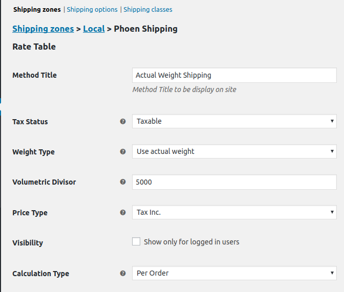 Woocommerce Product Shipping Table Rates