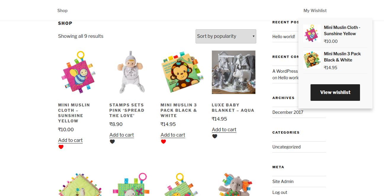 Navigation menu have Wishlist option show all wishlist products.