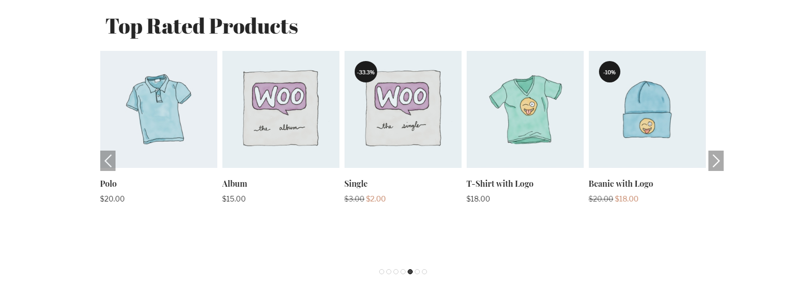 WooCommerce Top Rated Products in carousel view
