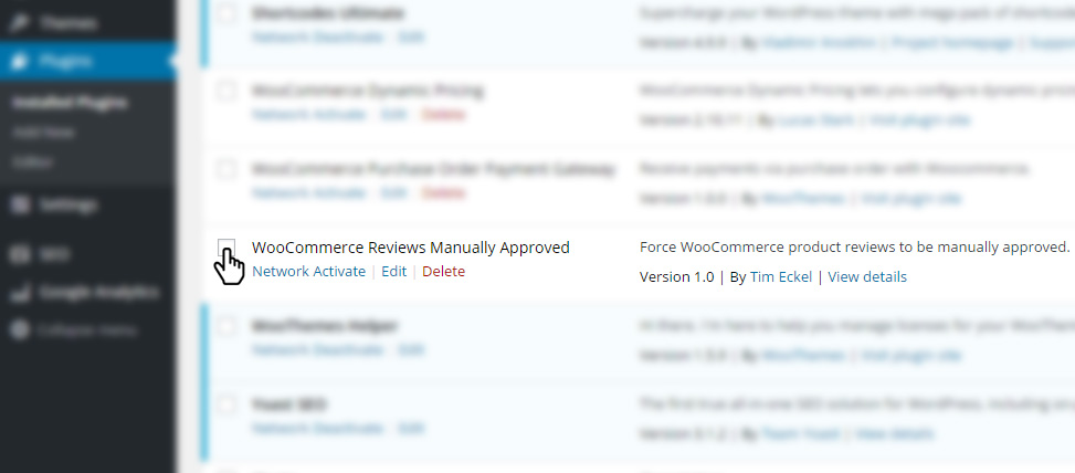 Activate the WooCommerce Reviews Manually Approved plugin.