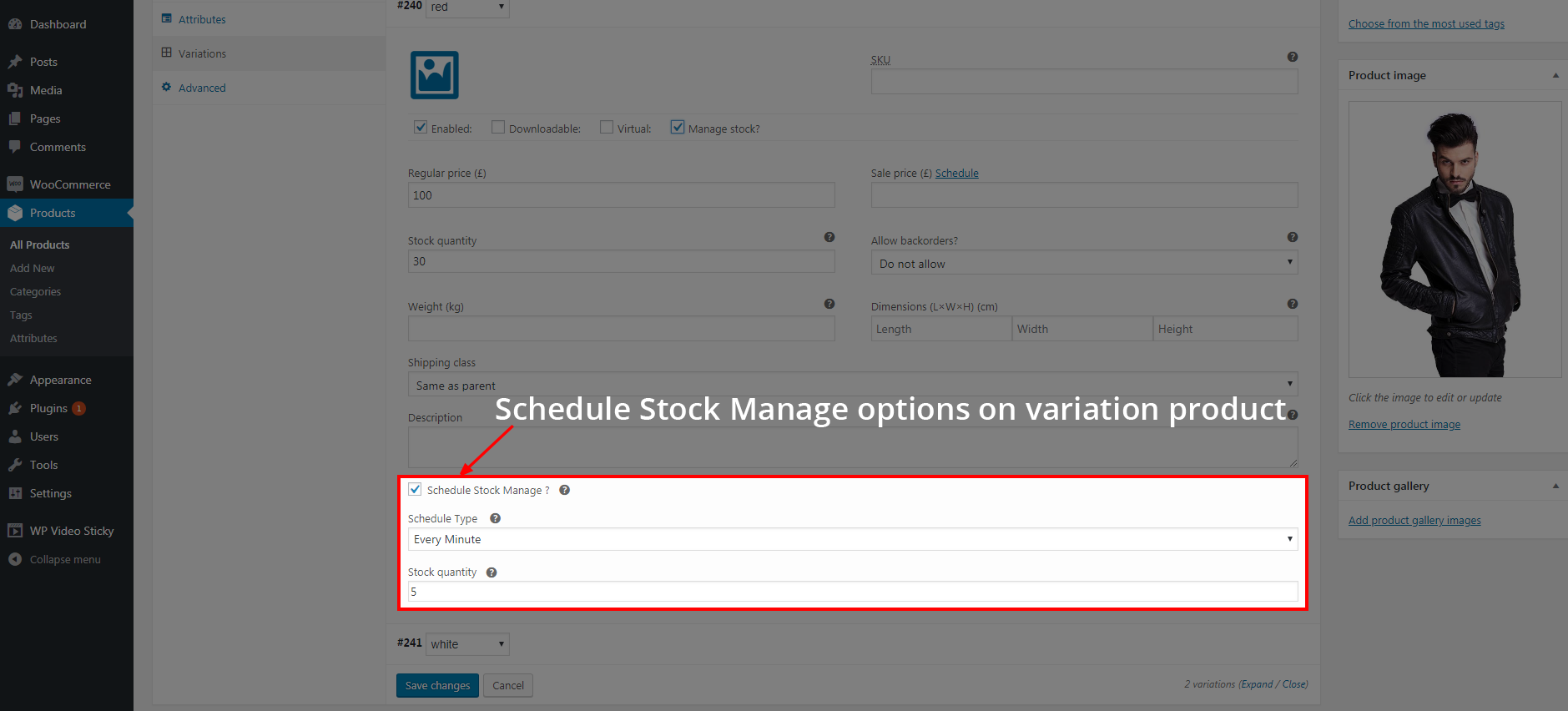 Schedule Stock Manage options on Variation product