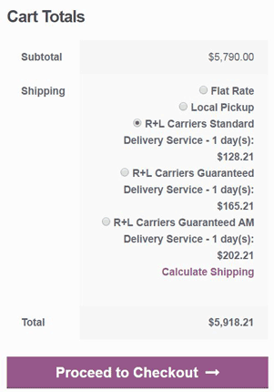 Shopping Cart Totals with R+L Carriers Rate Quotes