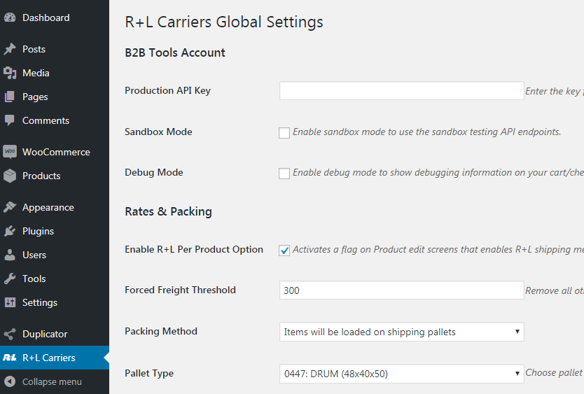 R+L Carriers Global Settings