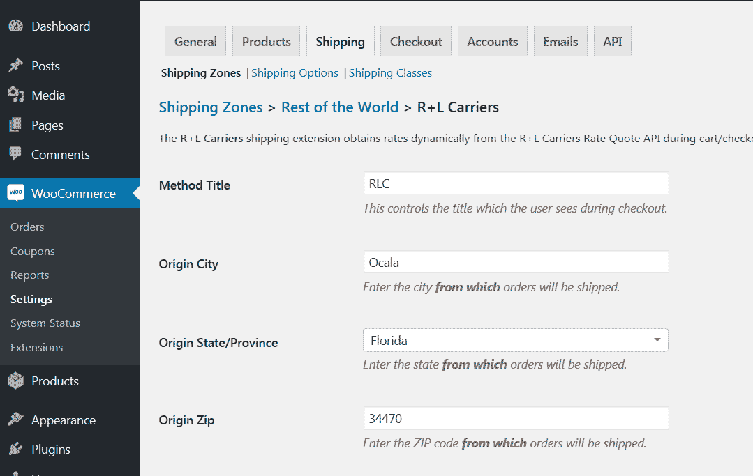 R+L Carriers Zone Instance Settings