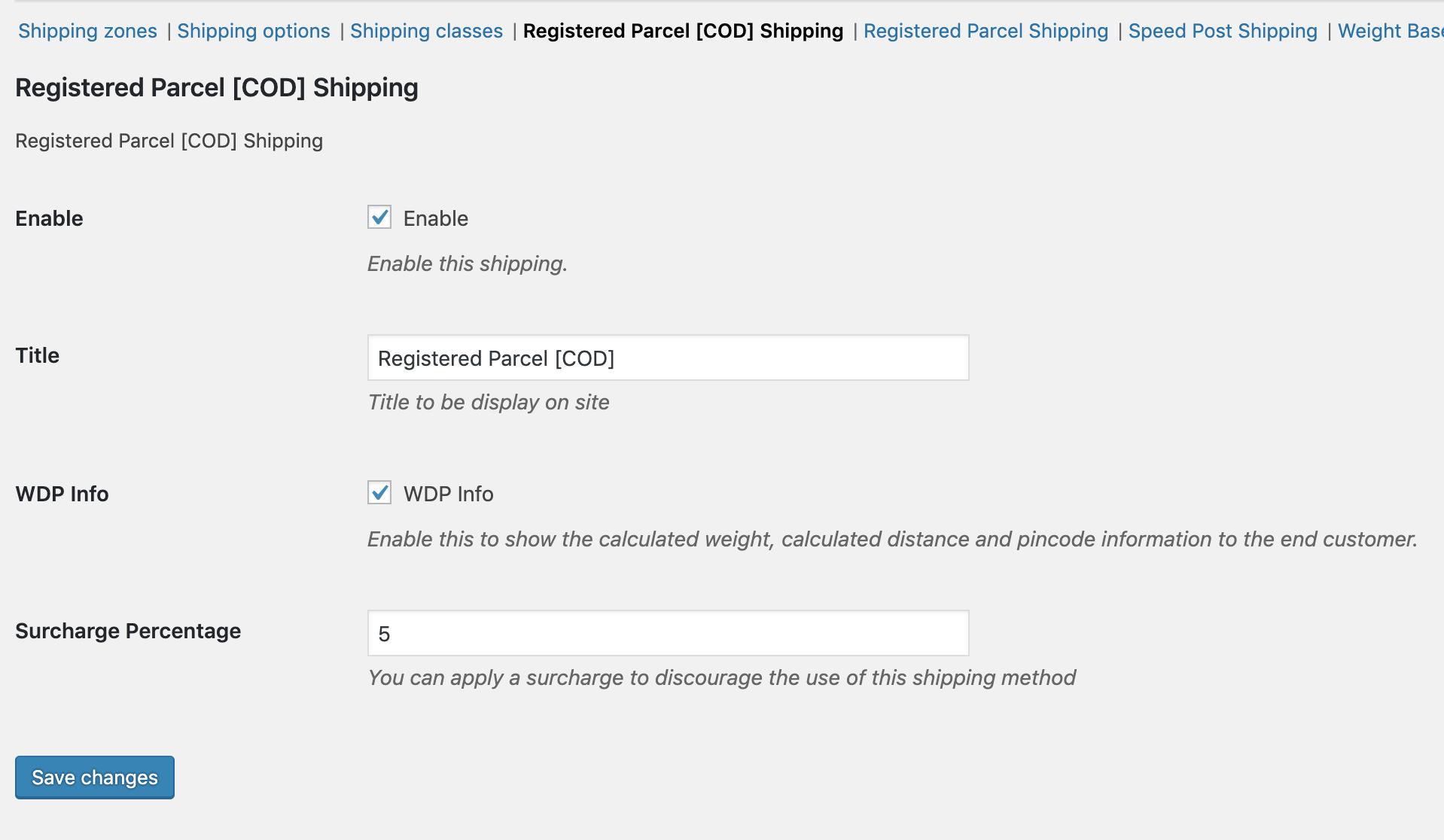 Registered Parcel COD Configurator