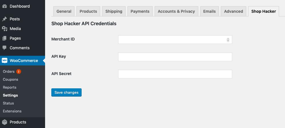 Settings for API credentials.