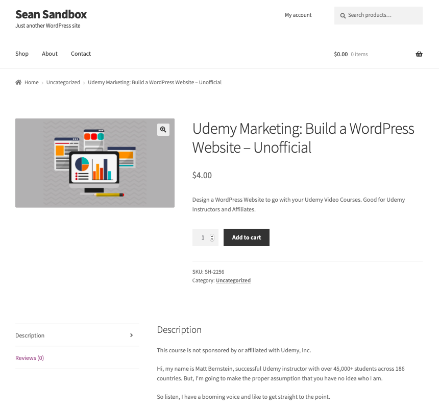 Sample product page using Storefront theme.