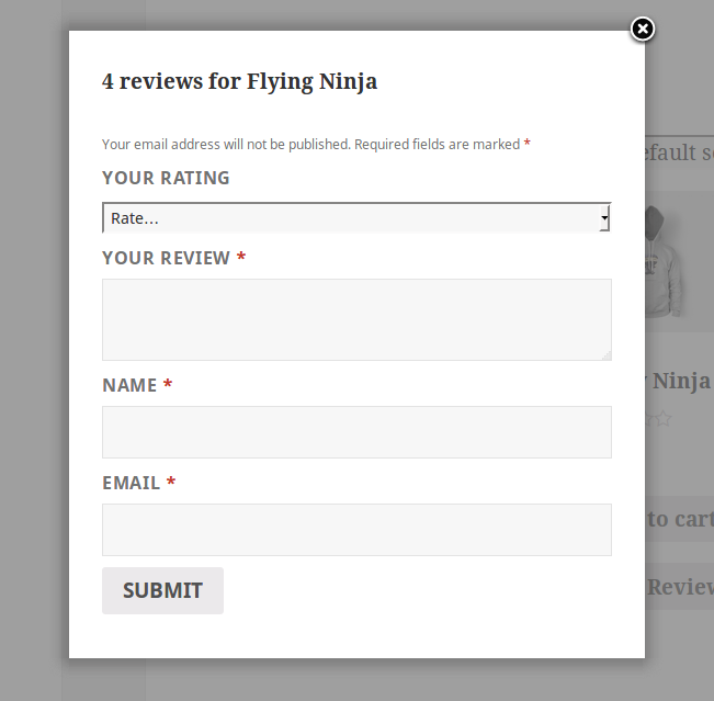 After click review pop up will come to submit review.