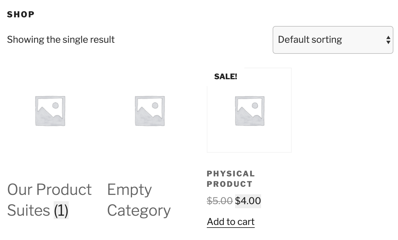 Display of default shop page with plugin activated