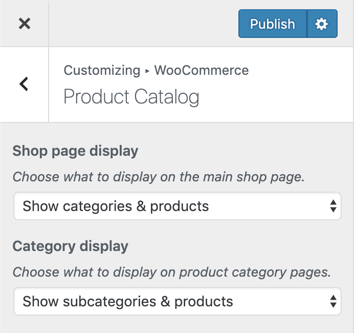 Screenshot of WooCommerce Shop & product pages settings menu with correct options shown
