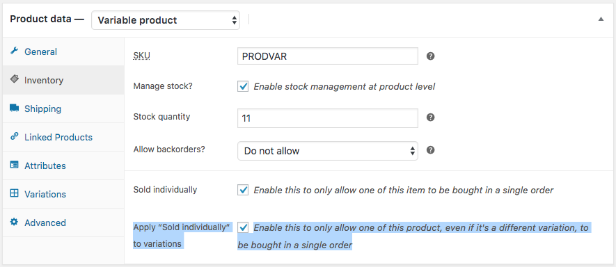 Product settings