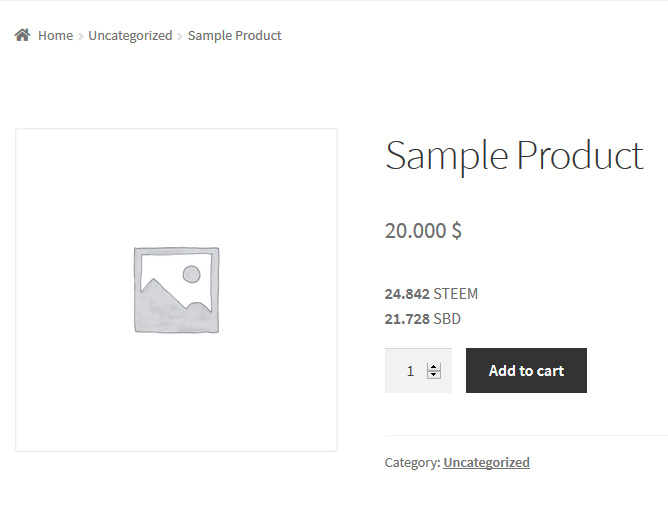 Product page showing optional exchange rate below product price.