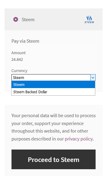 Steem payment method option on checkout page. Customer can choose between STEEM or SBD currencies. Exchange rate from FIAT is calculated automatically.