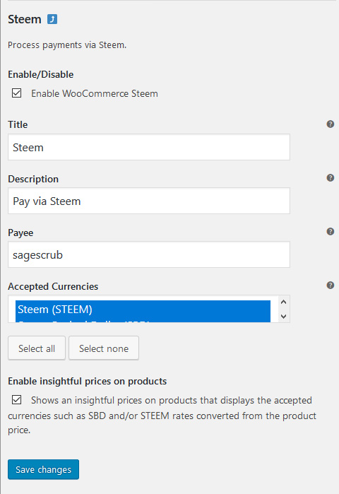 Settings for this plugin within WooCommerce Payments Settings