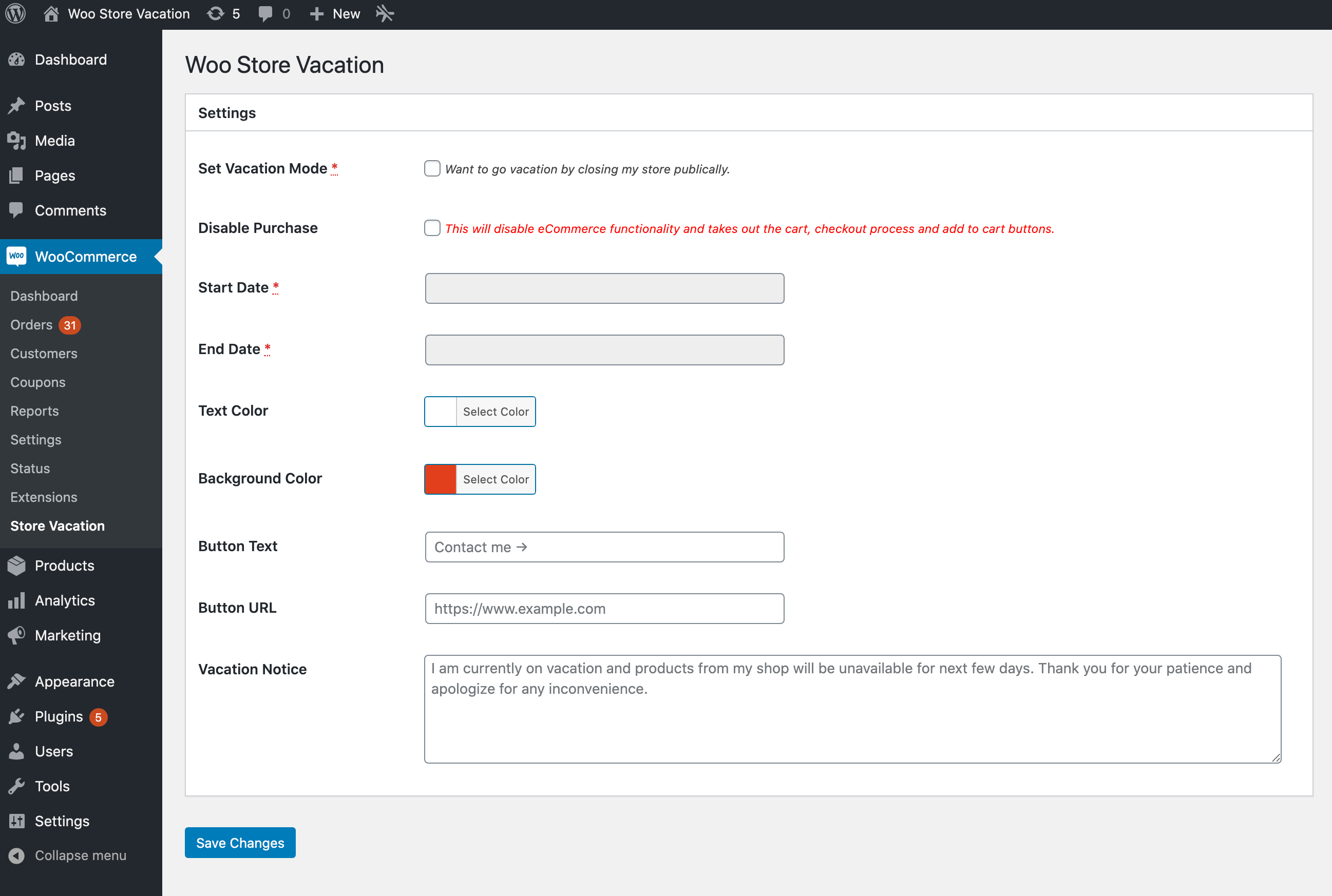 Plugin's settings page