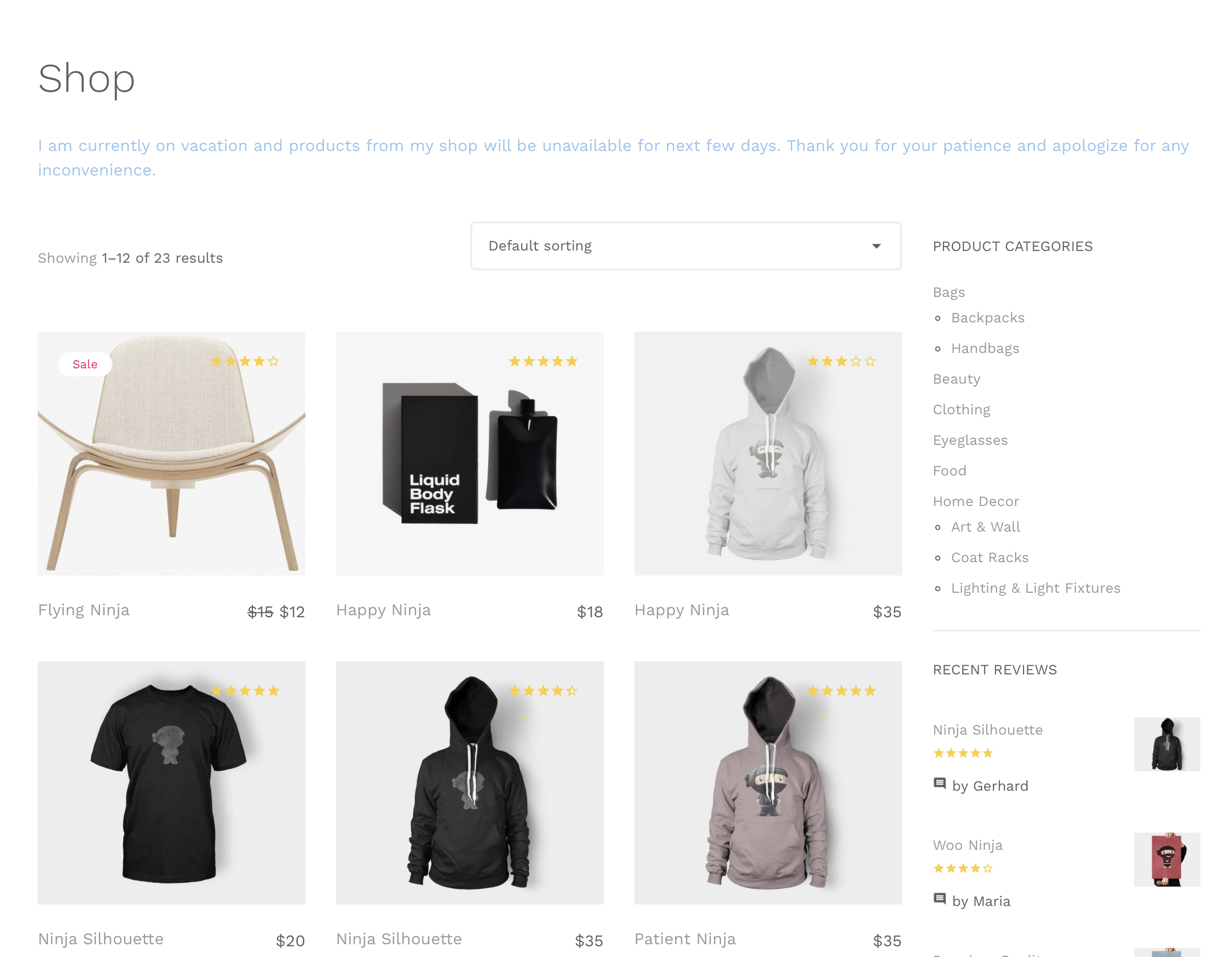 Displaying a notice at the top of shop page