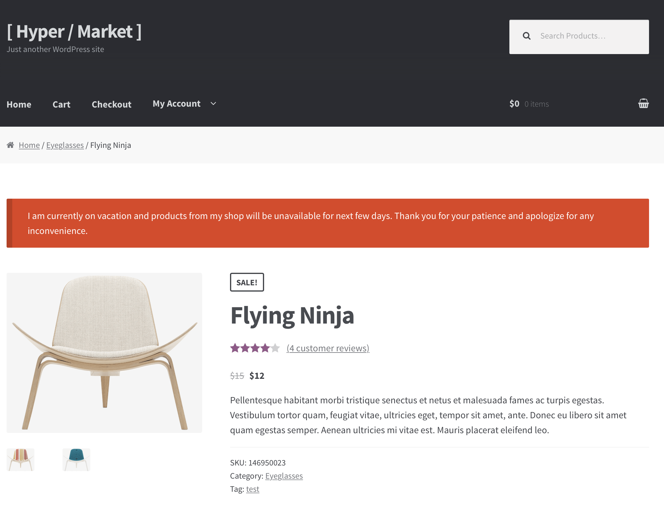 Displaying a notice at the top of product page
